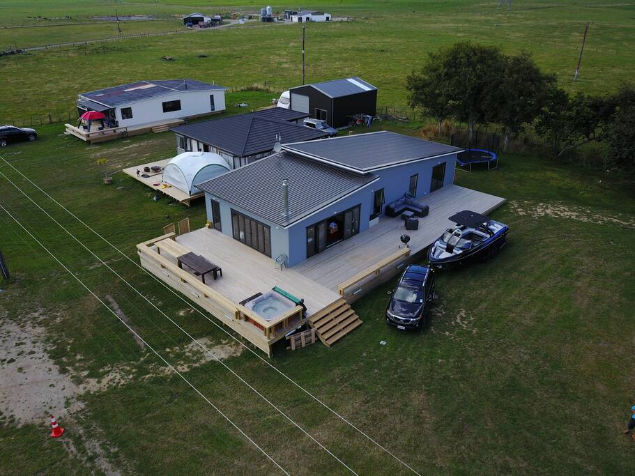 From the air, 140sqm deck