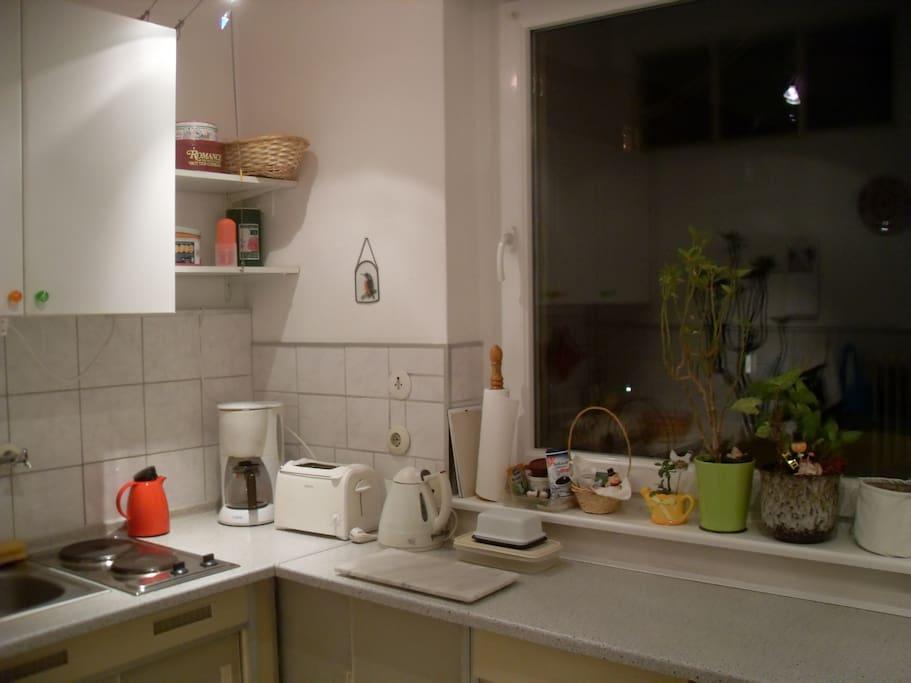 kleine Küche, ausgestattet