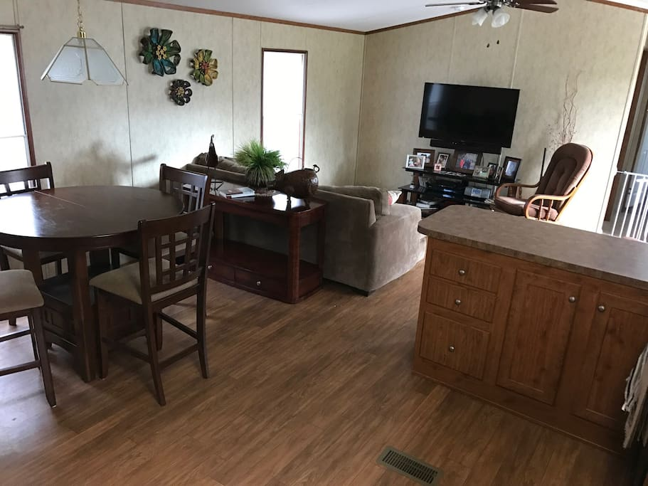 View from kitchen of living room and dining.