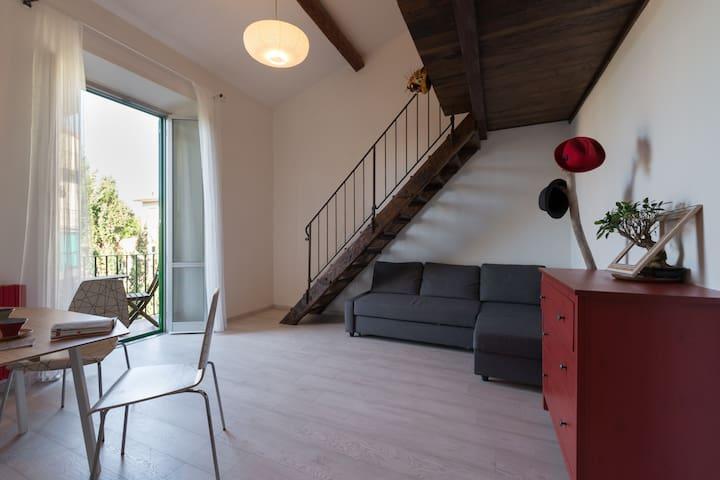 A spacious studio loft