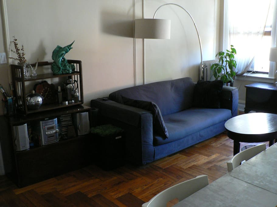 Living Room - Doesn't look particularly comfy in photos but this sofa will surprise you! Curl up, read a book, or sit and plan your day.  Lots of NYC guide books available for you to use.