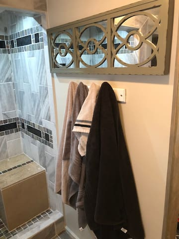 Custom shower/ W seat