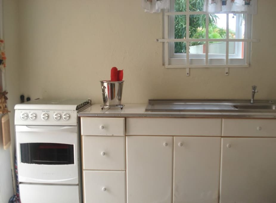 Stove and kitchen counter.