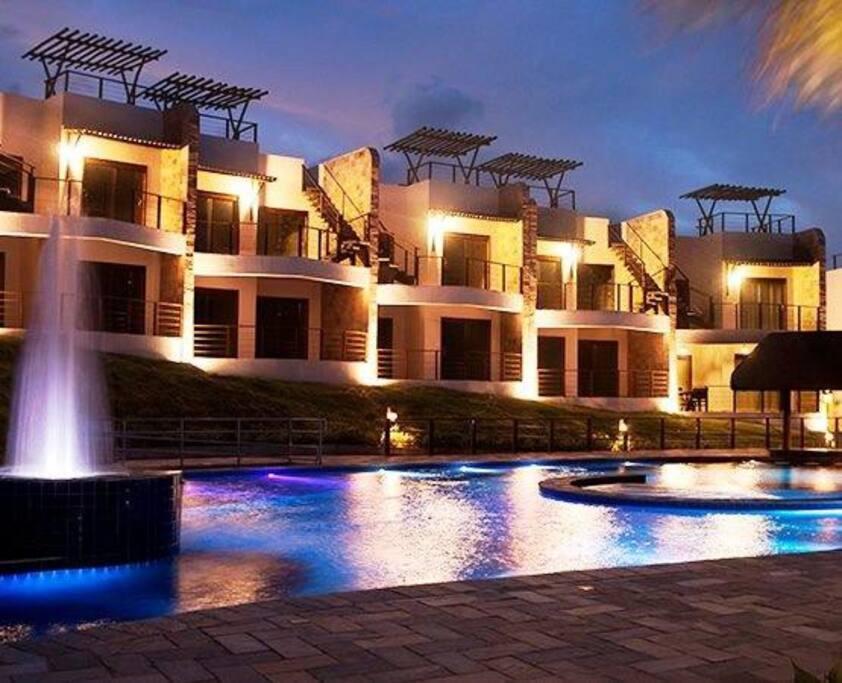 The beautiful Brisas Do Amor pool by night