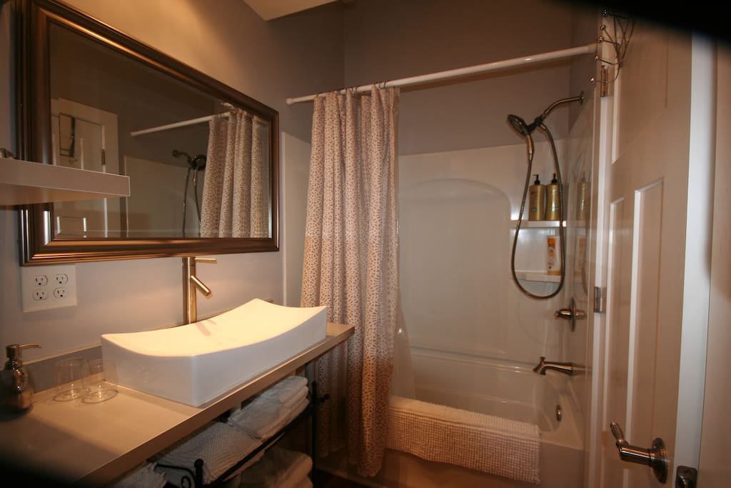This is the private bath for guests.  It has a heated towel bar and extras (like toothpaste) in case you forget something.