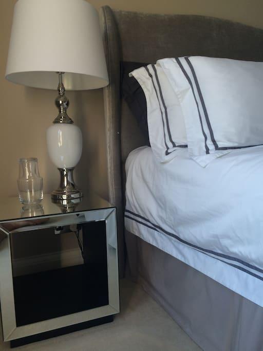 Luxury bedding, deep pile velvet carpet.  First floor room