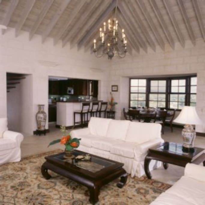 Huge living room with a vaulted ceiling