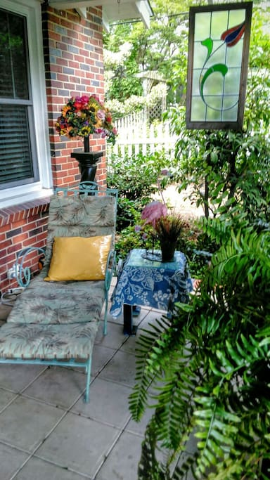 Have a cup of coffee while relaxing on front porch.
