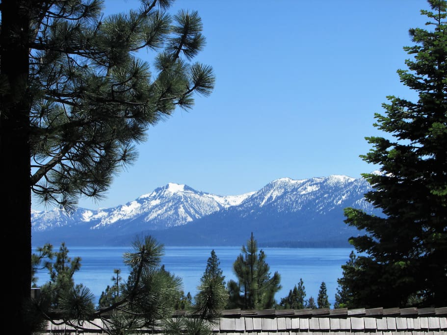 View of Mt Tallac,  Lake Tahoe from the deck and great room.  What a spot to watch the sunset!