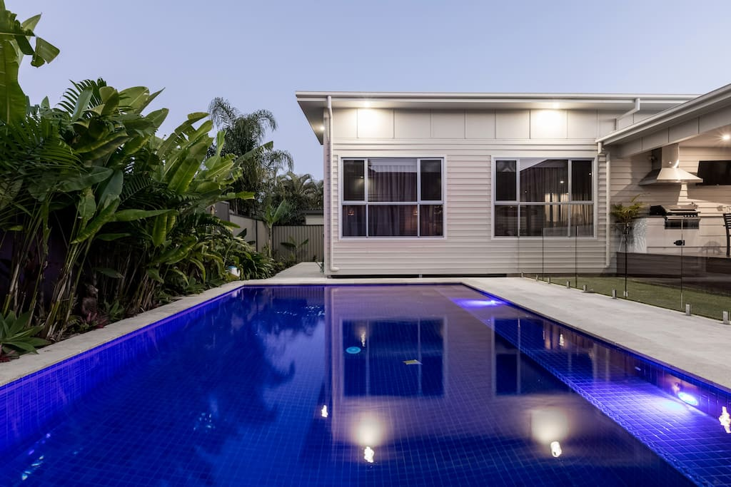 Large private tiled pool