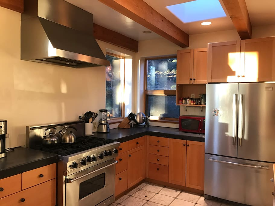 Viking Stove and stainless steel appliances.