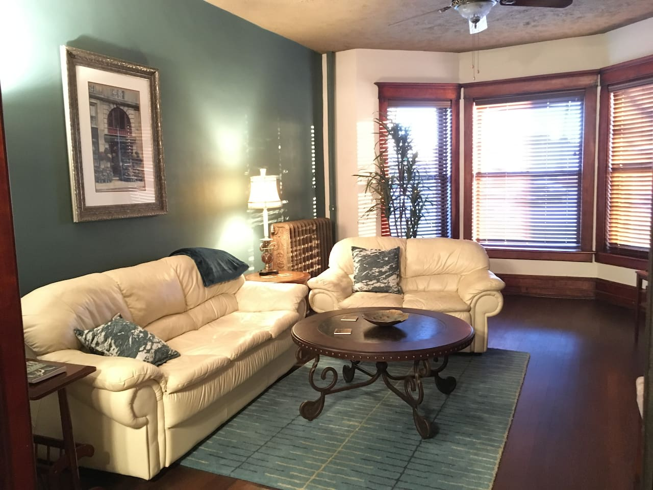 Living Room with comfortable leather sofas.
