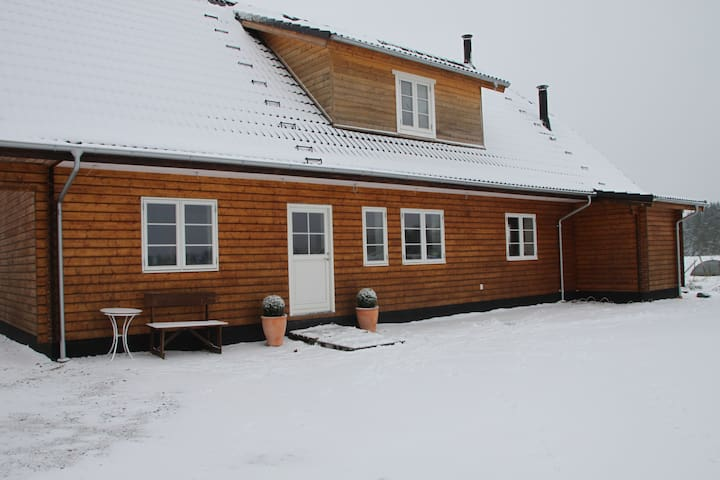 Vores gård i December, Hyggeligt med sne. Our farm in December month, cozy with snow
