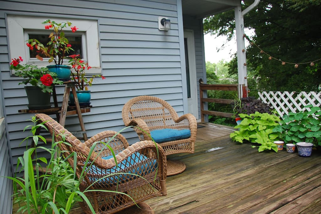 The deck, lots of privacy.  Enjoy something to drink while you visit or read.