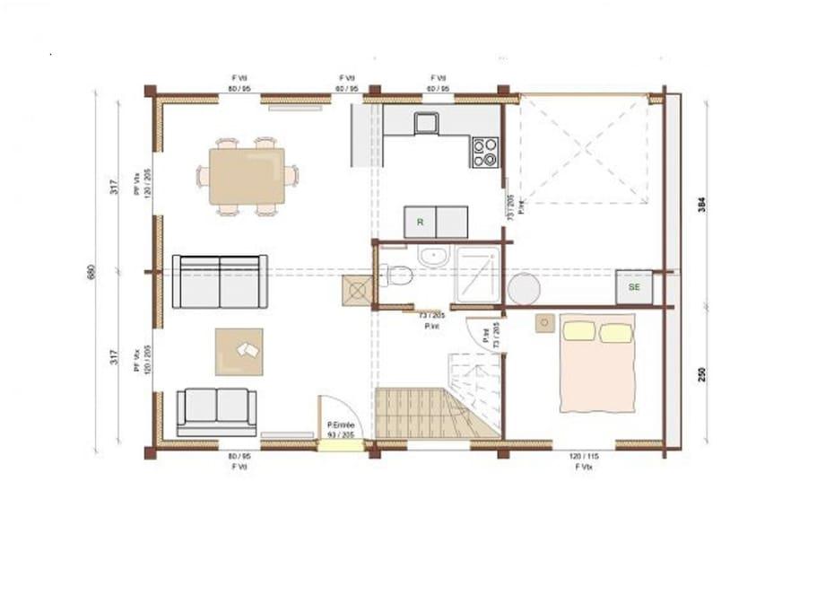 Plan RDC. L'aménagement intérieur n'est pas contractuel.