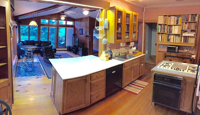 Kitchen with large marble counter
