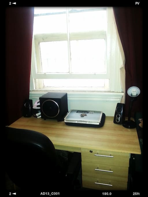 Desk space for study or Laptop.