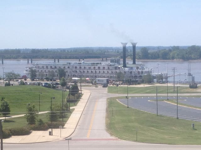 View from apartment and deck:  river-going steamboats periodically dock at Alton's riverfront park to load/unload passengers and resupply.  Very cool!