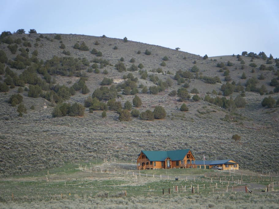 Ranch house and guest house view from driveway