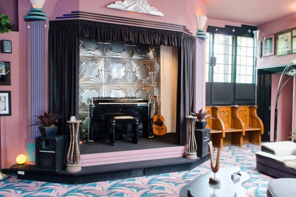 Your host and friends may occasionally play music on the stage in the living room.