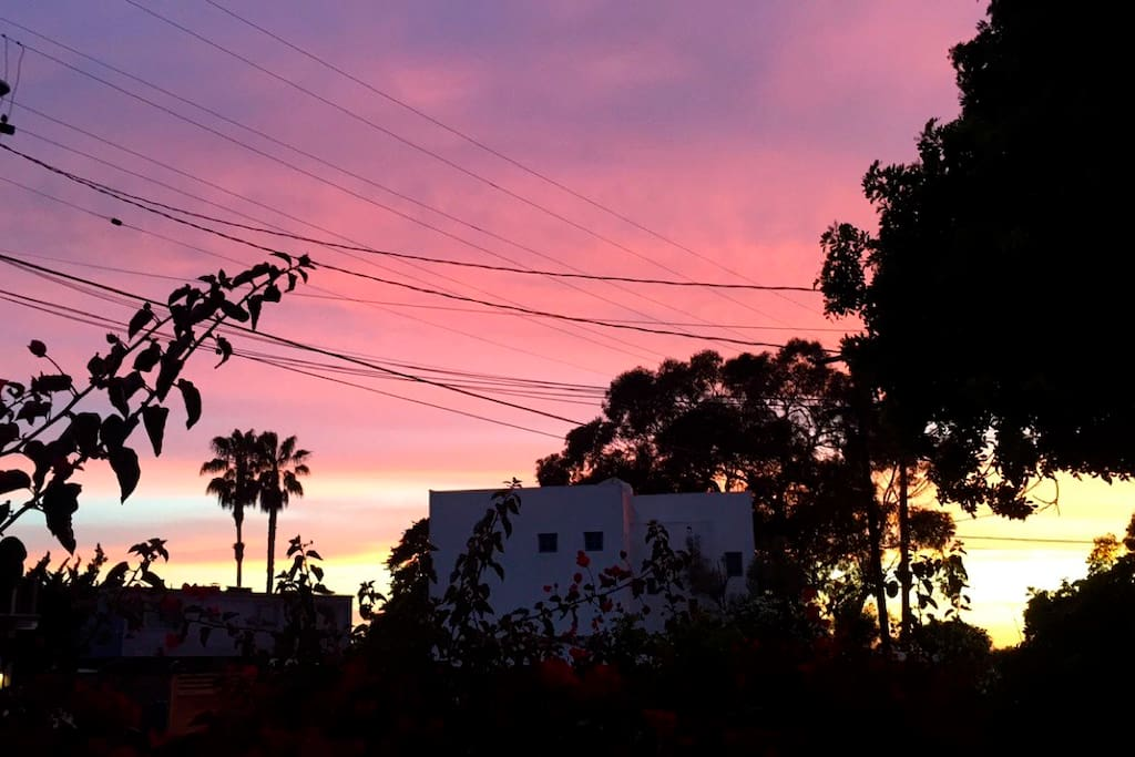 Beautiful sunset view from front courtyard, just 3 houses from beach access