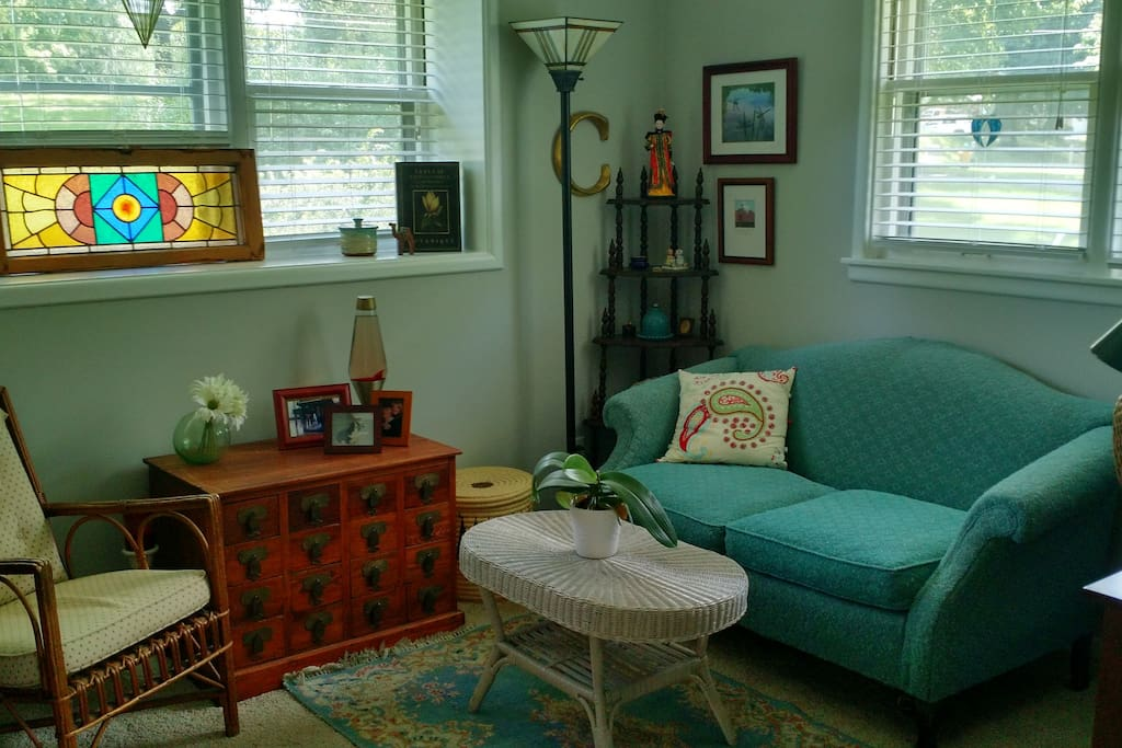 The study across from guest room with great natural light.