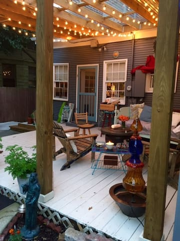 Shared deck space that includes outdoor TV