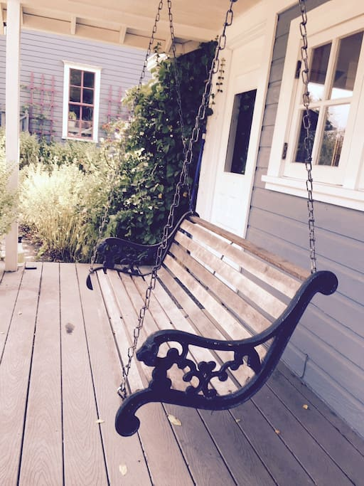 Porch swing for lazy evenings.