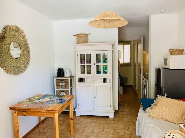 Salle de séjour, coin cuisine, canapé lit gigogne 2 matelas en 90