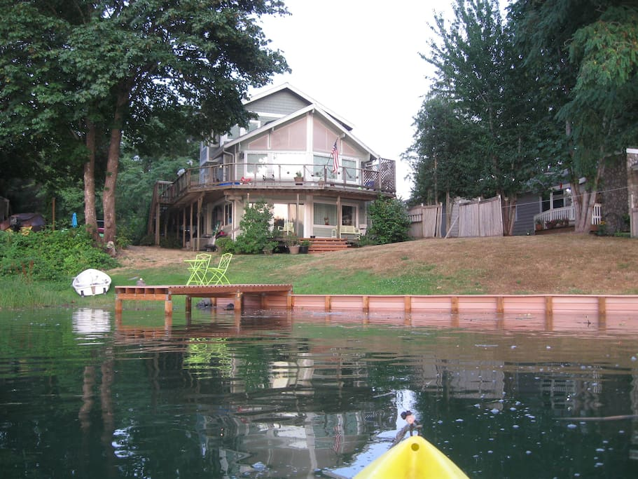This is what our home looks like from one of our kayaks at high tide.
