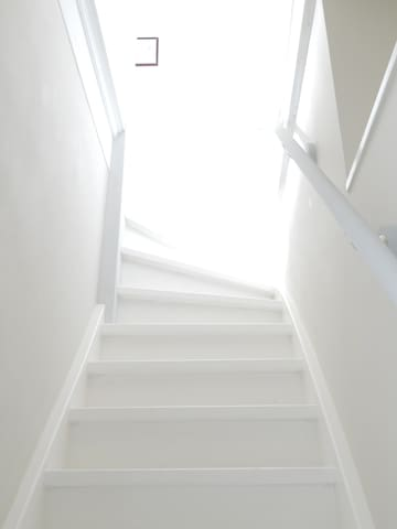 Up into the light: the stairs leading to the top floor