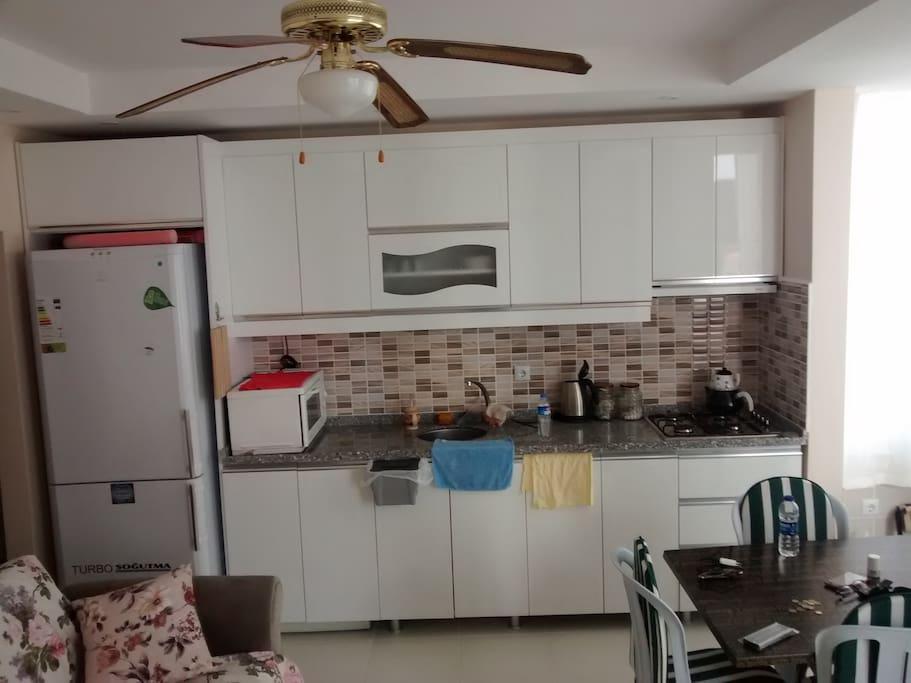 mutfak ve salon bir arada mutfakta yemek yapmak için herşey mevcut. Everything what you need to cook.