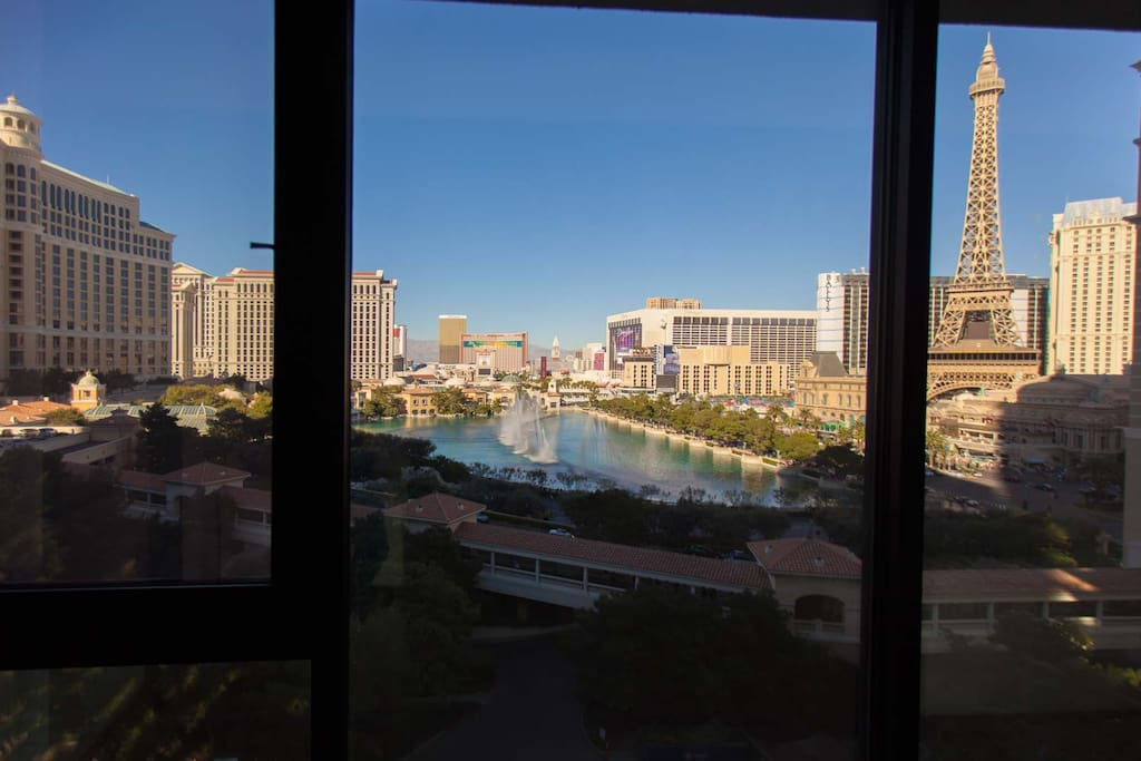 Actual daytime view of Bellagio Water Show from our windows.