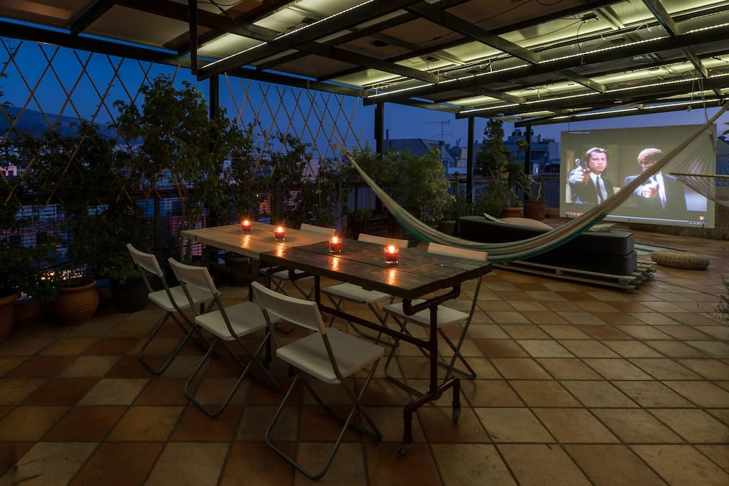 Romantic dinner or movie projection