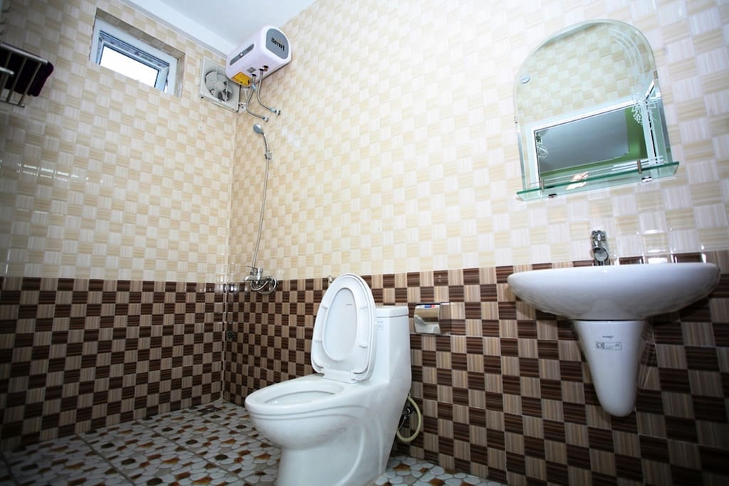 Toilet with hot water and clean