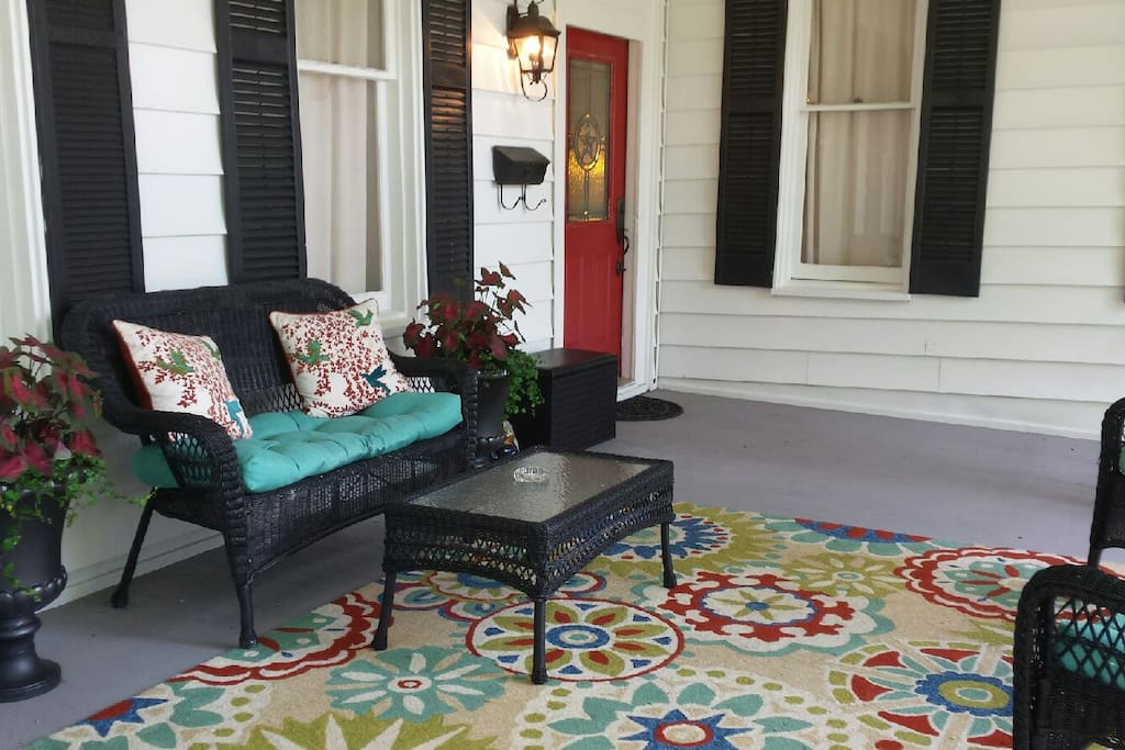 Amble seating on the large front porch.