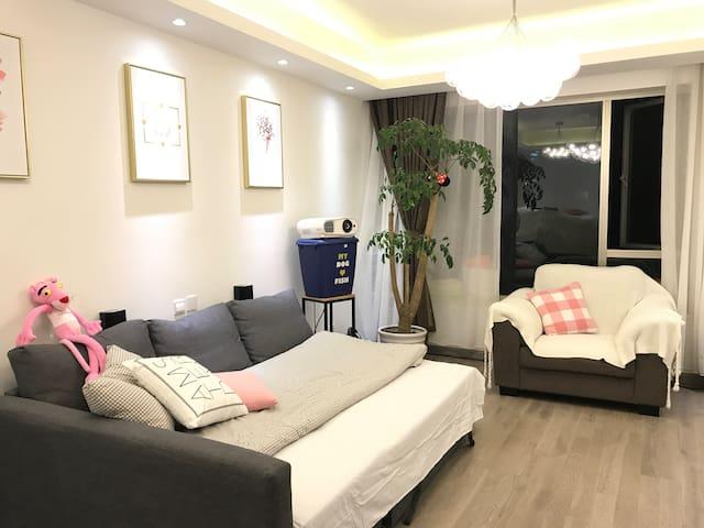 SH内环 酒店式公寓~空调温暖大客厅沙发床&整面投影O(∩_∩)O