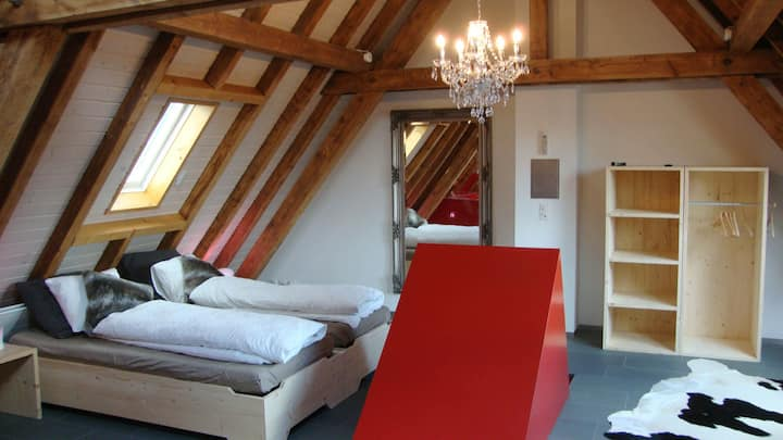 Attic room with jacuzzi/WC in beautiful townhous