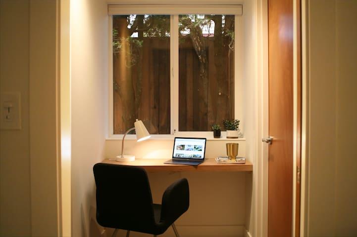 Separate office with door.