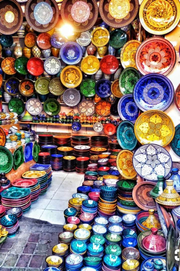 colorful clay plates