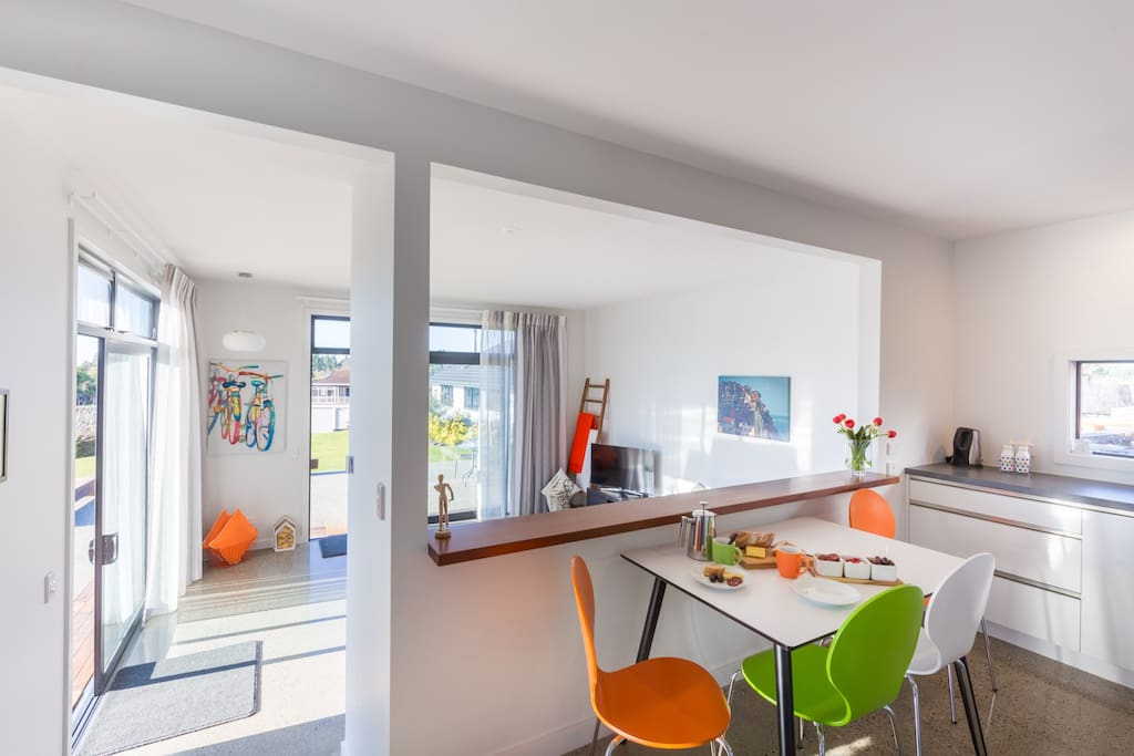 Orange Apartment Dining Area