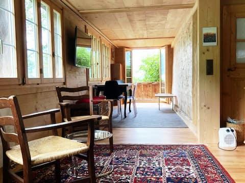 Studio with beautiful views of the Saanenland