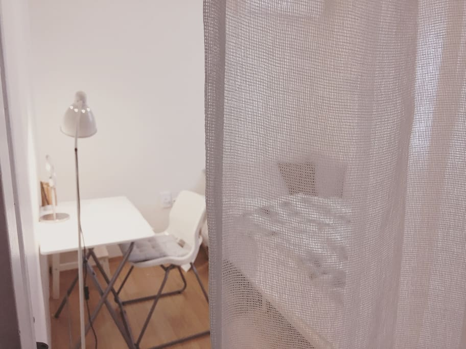 Single room is quiet and cosy.  WiFi, table, chair, stand lamp, clothing-racks, towel, hair dryer, fire extinguisher, safety lamp, air conditioner and humidifier.