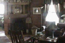 The living room with fireplace