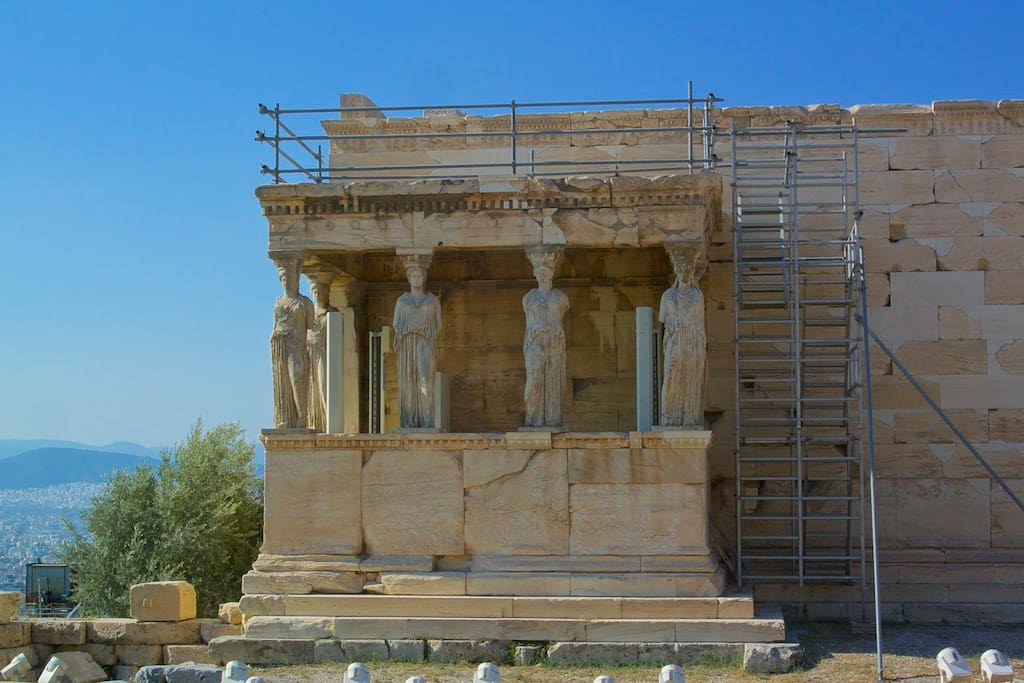 The beautiful karyatides is nearby