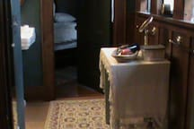 The bathroom which is shared by Peaceable Kingdom bedroom and Historic Arts and Crafts Residence bedroom