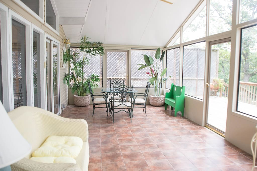 Picture yourself relaxing in your sunroom with a glass of wine and good conversation...