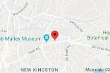 Central location and uniquely placed within close reach of major attractions in Kingston. 0.2 miles from Bob Marley Museum, 0.3 miles from USA Emnassy, 2 Miles from UWI, UTech and National Botanical Gardens and 4 miles from New Kingston