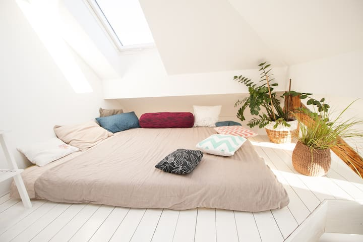 Queen bed on the Mezzanine, sleeps 2