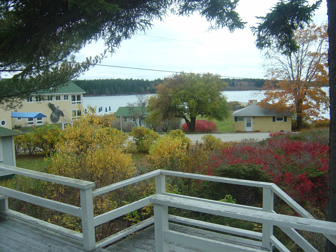 View from the front deck to gardens and Sebasco Harbor